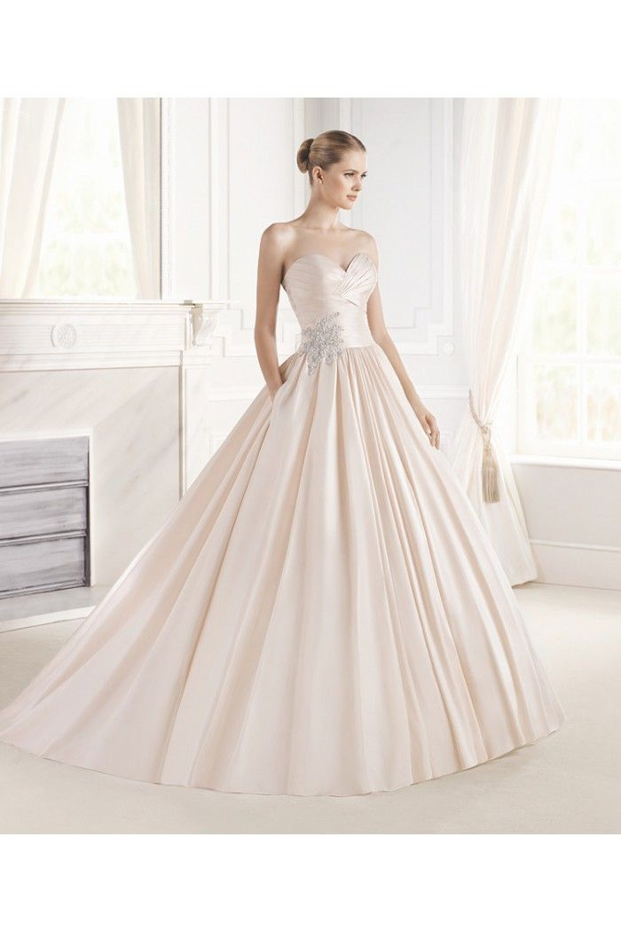 Ball Gown Strapless Sweetheart Champagne Color Satin Ruched Wedding ...