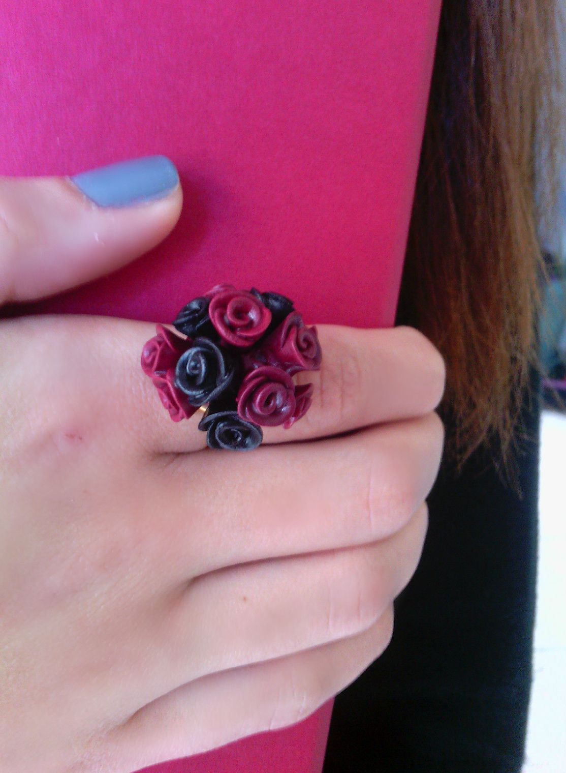 jewellery, jewelry, handmade rings, colours, rings, nails, rose, polymeric clay, fashion, style, fimo, roses, black, red, liz art on facebook