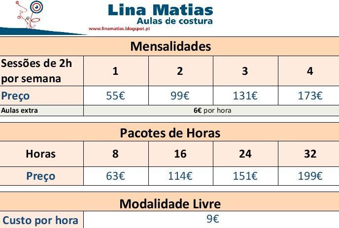 Preços das Aulas de Costura Lina Matias