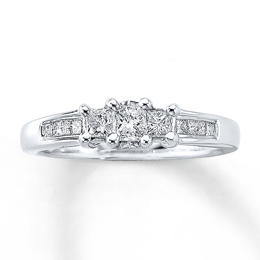 Jared Diamond Anniversary Ring 1 2 Ct Tw Princess Cut 14k White