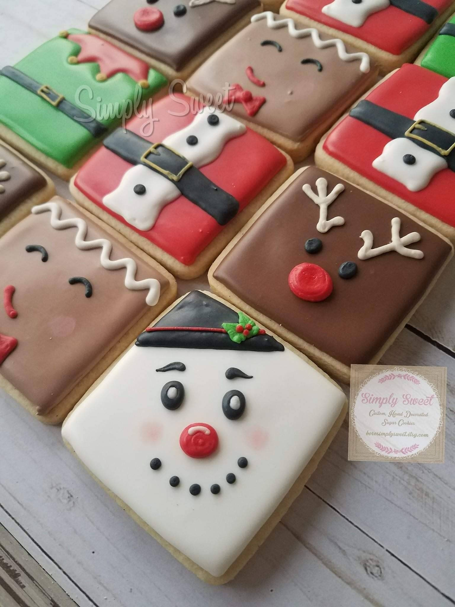 Christmas Sugar Cookies Square Collection 24 Cookies Etsy
