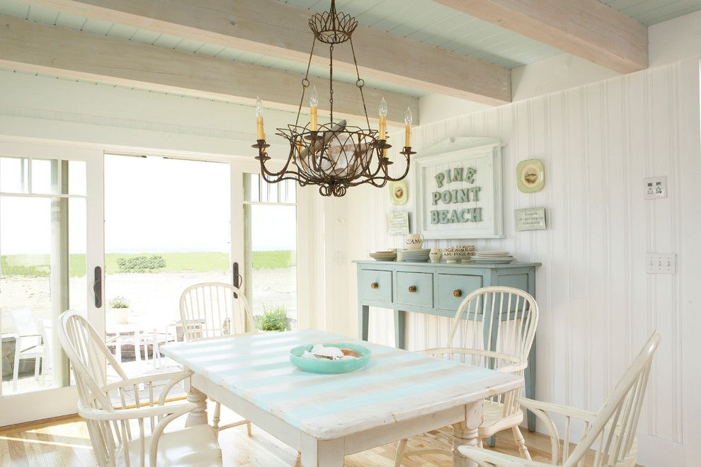 Striped Shabby Chic Kitchen Table Dining Room Beach With Beach