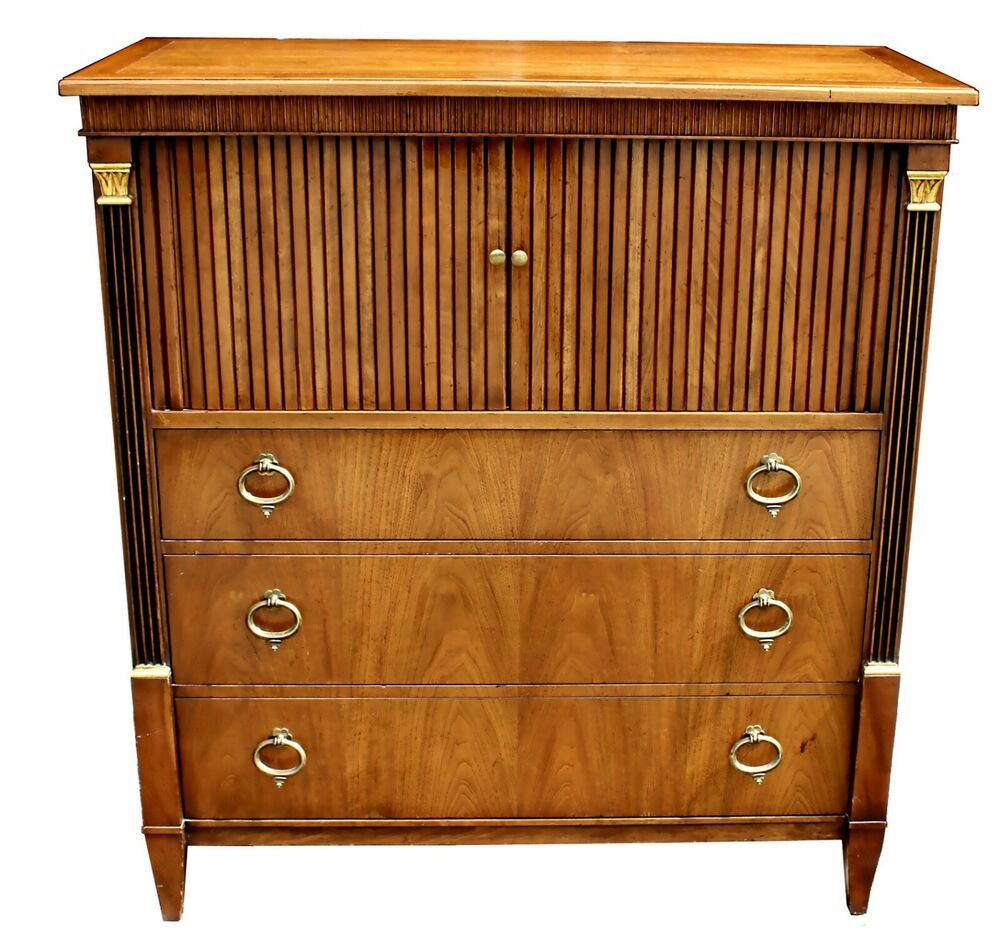 Baker Furniture Mid-Century French Regency Style Tambour