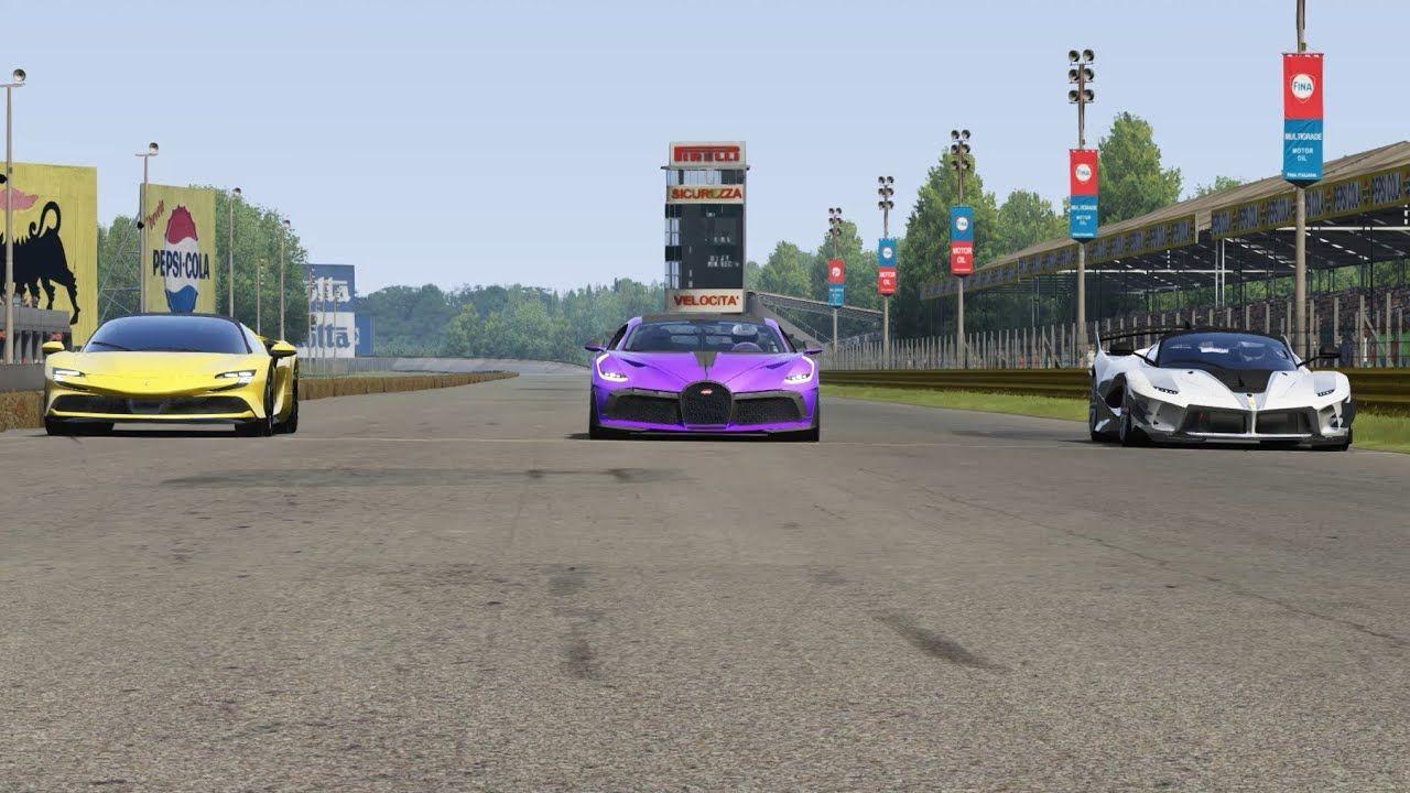 Bugatti Divo vs Ferrari SF90 Stradale vs Ferrari FXX K Evo at Monza Full Course