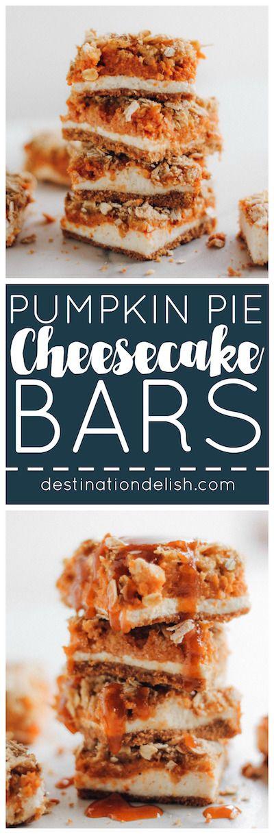 Pumpkin Pie Cheesecake Bars with Caramel Streusel   Recipe ...