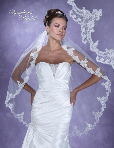Elegant Symphony Bridal 6119VL Lace Edge Fingertip Wedding Veil - Affordable Elegance Bridal -