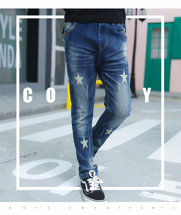 76b7e398d F176019# 2017 Latest Fashion Top Design Printing Children Euramerican  Vintage Soft Skinny Boys Jeans Kids