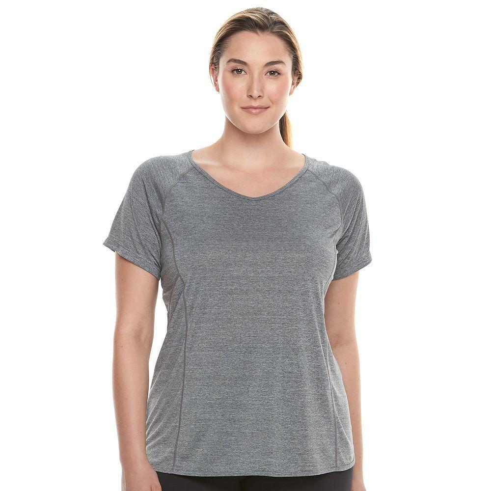 Plus Size Tek Gear® Performance Step Hem Base Layer Tee, Women's, Size: 1XL, Dark Grey