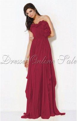 Pretty Sheath Floor-length Strapless Burgundy Chiffon Dress