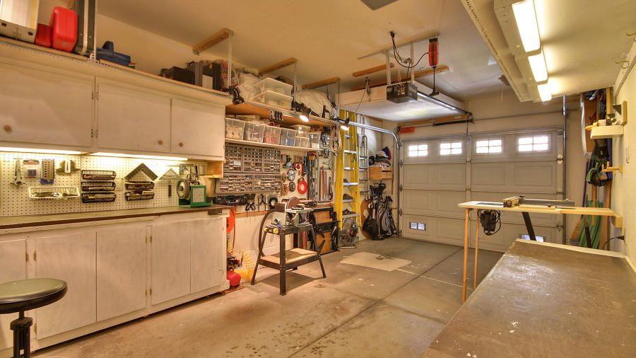 superb workshop garages #5: garage workshop- perfect for motorcycle storage and still utilize eorkshop