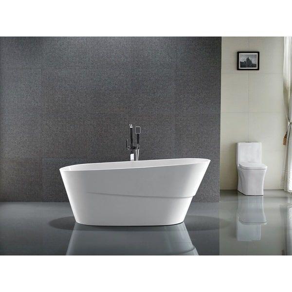 Vanity Art 67 Inch Freestanding Acrylic Bathtub Stand Alone
