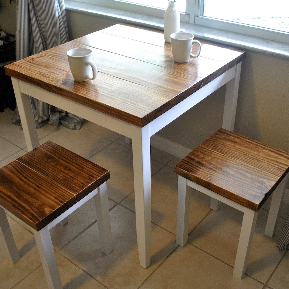 Farmhouse breakfast or small dining table set with or without stools by theappelshop on etsy https