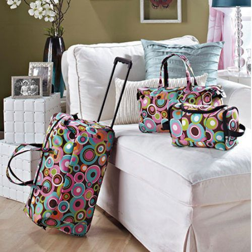 31924c5e596 This kids luggage set for girls item includes a rolling duffel bag, a toiletry  bag, and a tote. It is a great travel set for a weekend or overnight trip  for ...