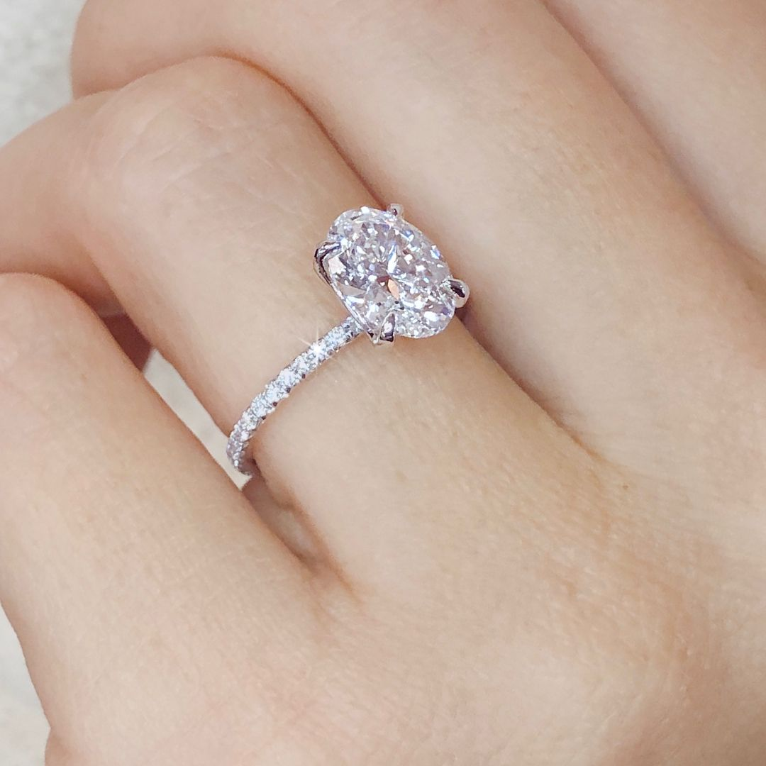 Featuring an oval cut diamond center with a thin, delicate diamond solitaire style engagement ring.  A gorgeous look for a lifetime of style.  Custom Design Your Own Ring at Ascot Diamonds   #engagementring #ovalcutdiamond #solitaireengagementring #ascotdiamonds