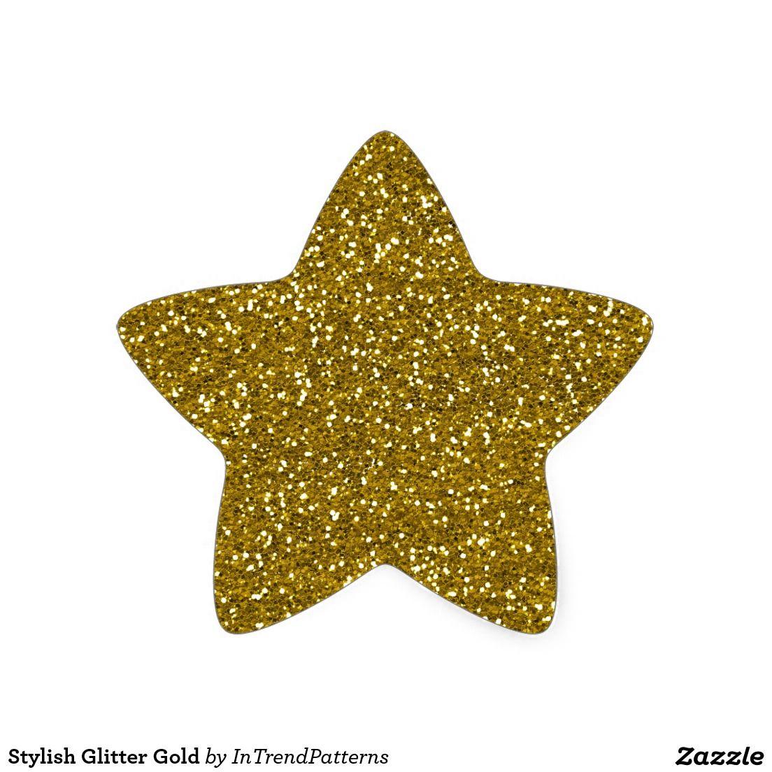 Stylish Glitter Gold Star Sticker Zazzle Com In 2021 Gold Star Stickers Star Stickers Glitter Stickers