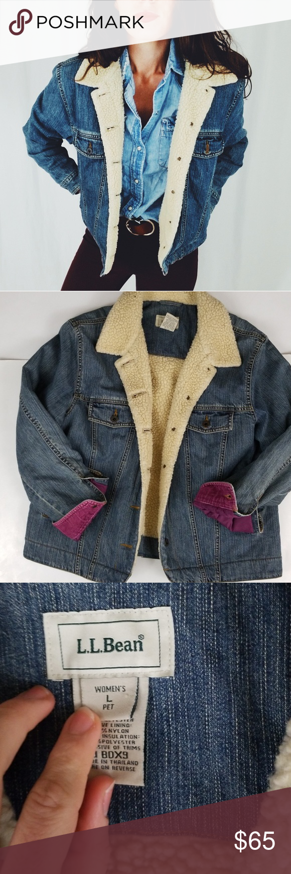 4ecffd54e6 L.L. Bean sherpa lined denim jacket -D4 L.L. bean denim jacket lined in a  cozy sherpa material. Womens size large. Purple corduroy detail on sleeve  cuff and ...