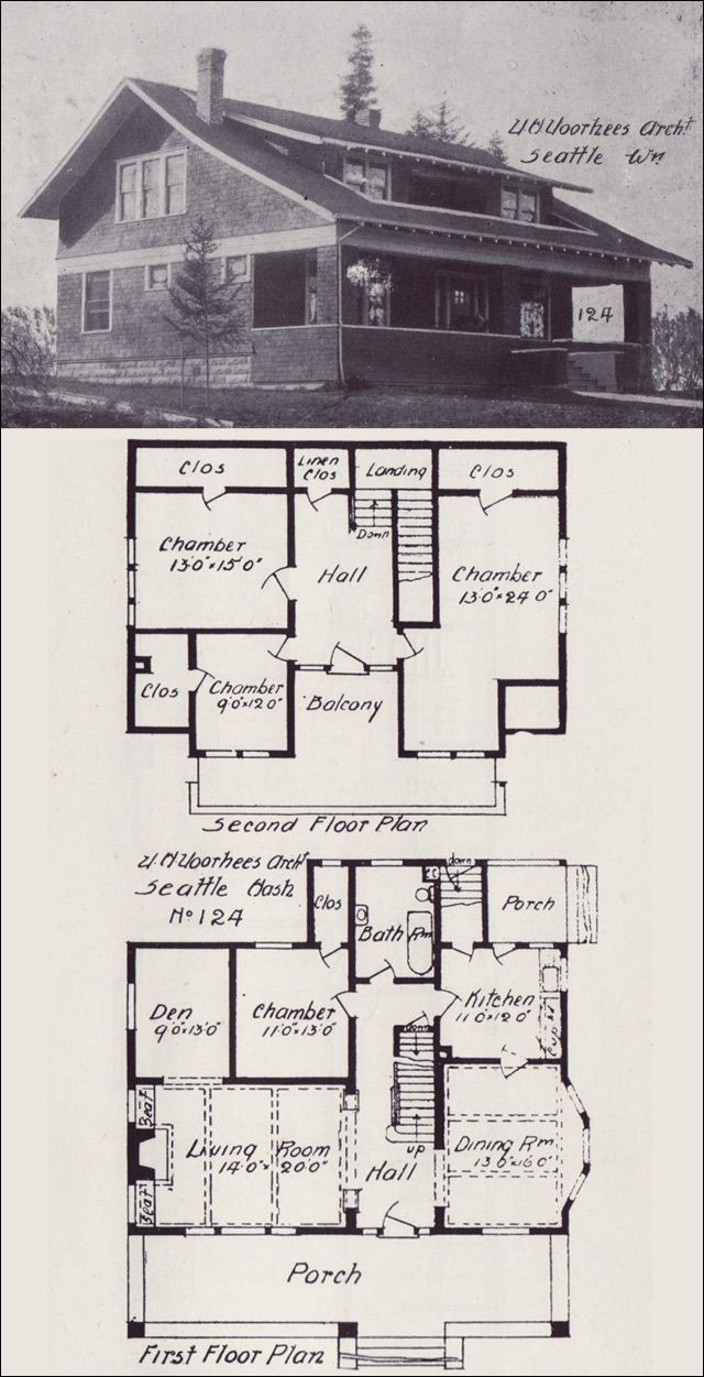 1908 bungalows by v w voorhees of seattle plan no 124 for Dormer bungalow floor plans