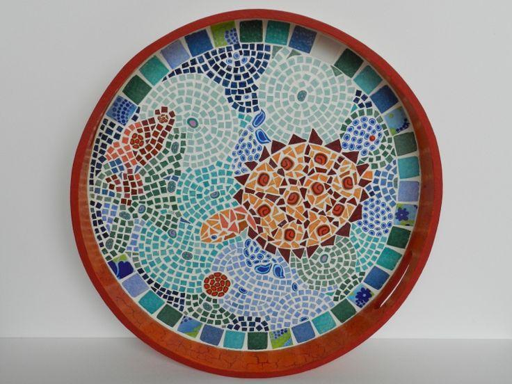 déco d'un plateau bois recouvert de micro mosaïque coupée avec une ... - Technique Peinture Acrylique Sur Bois