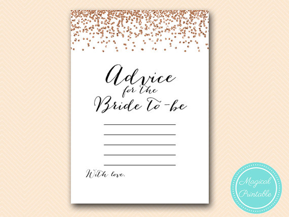 Advice For The Bride To Be Cards Printable Rose Gold Confetti Bridal Shower Bachelorette