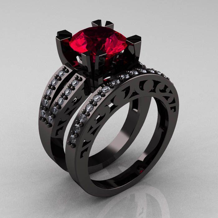 Modern Vintage 14K Black Gold 3.0 Ct Red Garnet Diamond Solitaire Ring  Wedding Band Set R102S