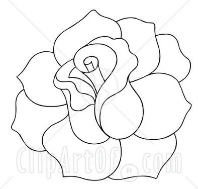 19151 clipart illustration of a black and white rose outline drawingeasy