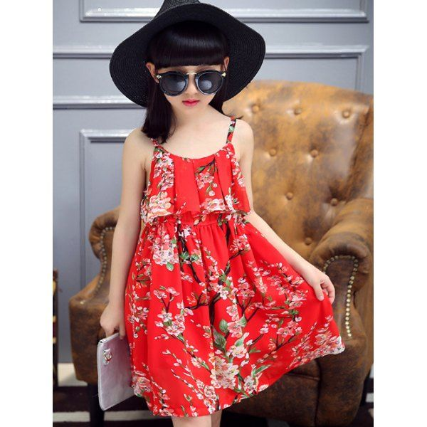 Wholesale Cute Girl's Spaghetti Strap Floral Print Summer Dress Only $6.15 Drop Shipping   TrendsGal.com