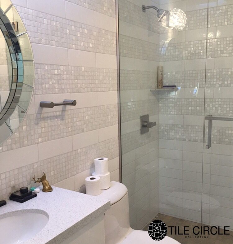 Amazing bathroom tile installation featuring mother of pearl tiles ...