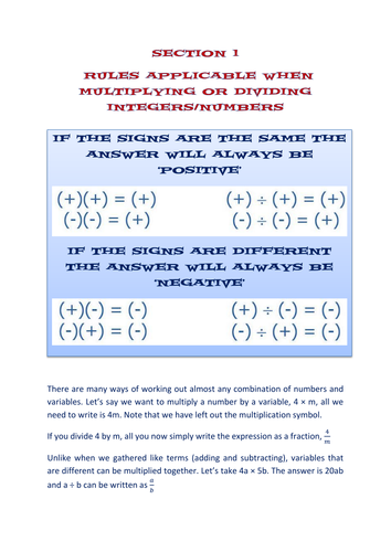 Section 1 Algebra Worksheets Expanding Brackets And Factorising