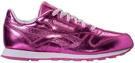 Reebok Classic Leather Metallic Big Girls Running Shoes