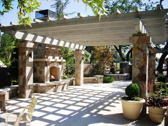 Backyard Landscaping Ideas Exterior Fireplaces Meant To Enhance Your Living Quality Outdoor Pergola Pergola Outdoor Stone Fireplaces