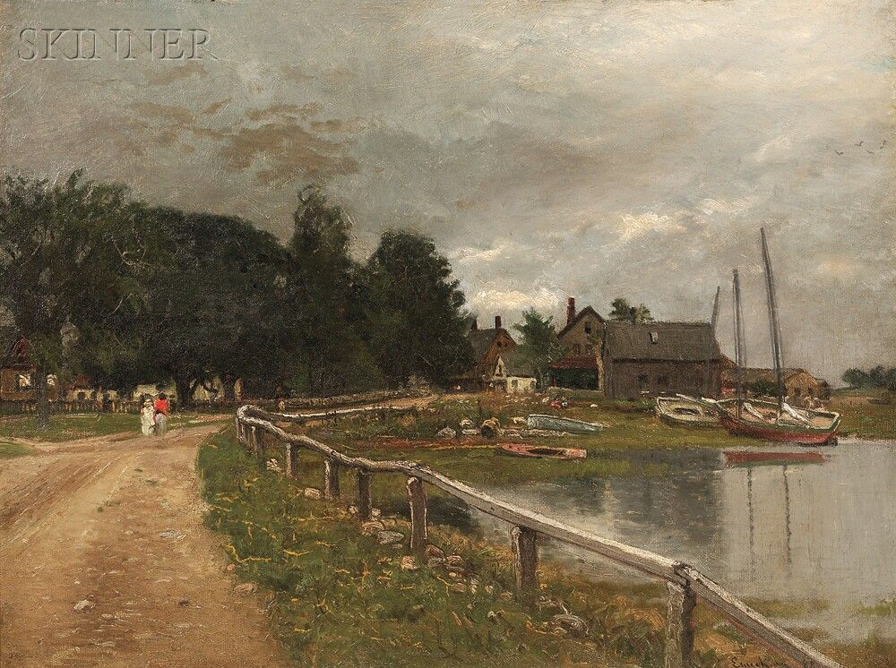"""""""Dirt Road Along Scituate Harbor,"""" John Joseph Enneking, 1898, oil on canvas, 18 x 24"""", private collection."""
