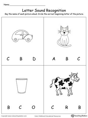 Recognize The Sound Of The Letter C Preschool Worksheets Alphabet Worksheets Preschool Tracing Worksheets Preschool
