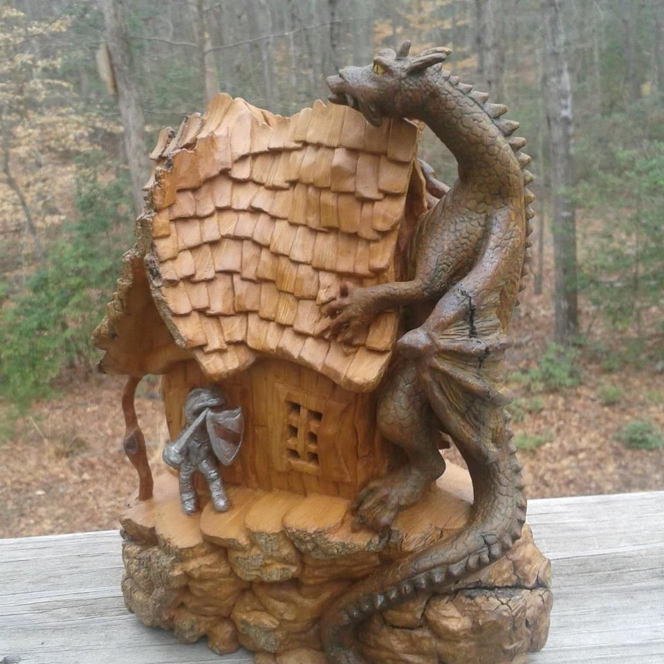 Here s my cottonwood bark dragon house hand carved