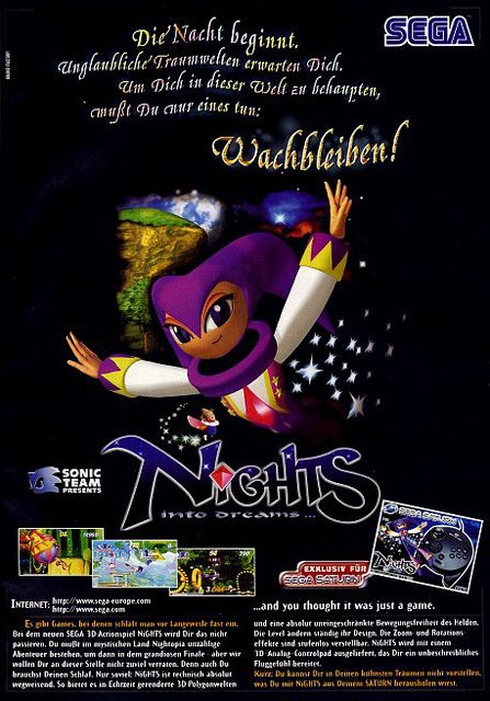 German ad for NiGHTS into Dreams. No clue what it says ...