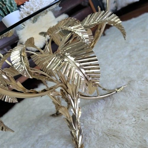 1960s gilt italian coffee table : tole palm tree - gold label