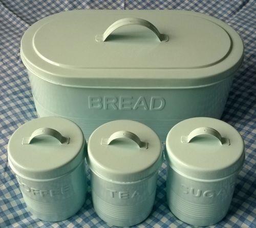 Retro Vintage Metal Bread Bin Amp Tea Coffee Sugar Canisters