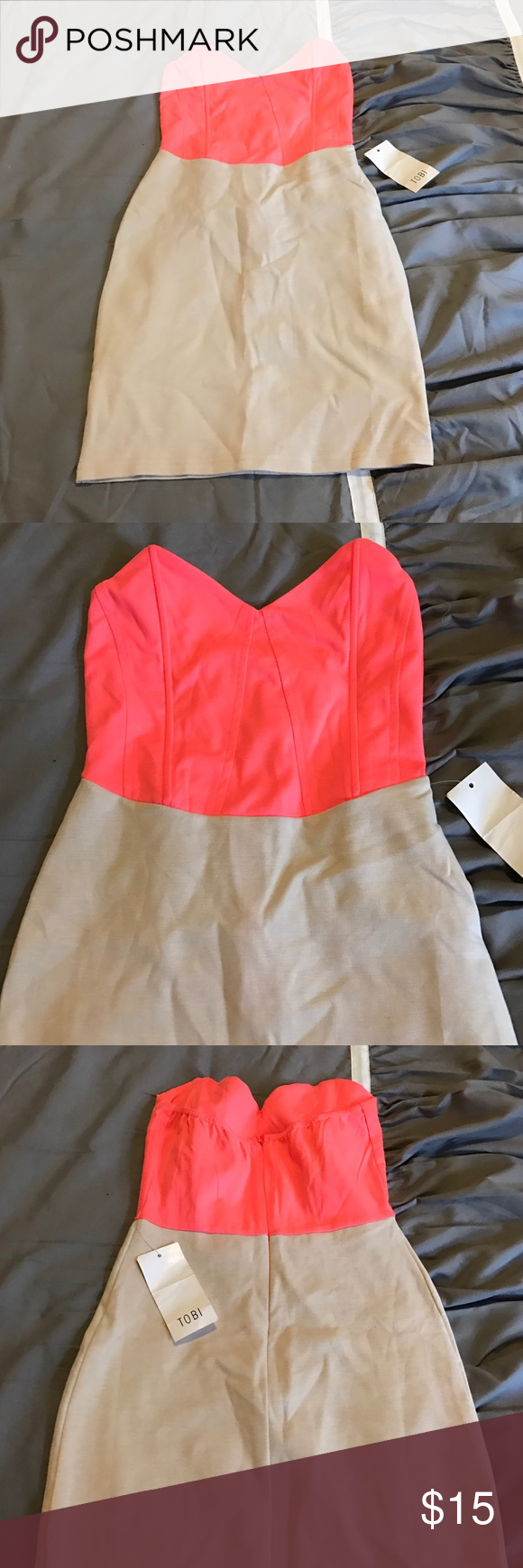 """Short strapless bodycon dress Perfect two colored dress. Strapless with a zipper on the back. Bodycon, very fitted. Brand new and never worn! Size small. From """"Tobi's Boutique"""" Dresses Strapless"""