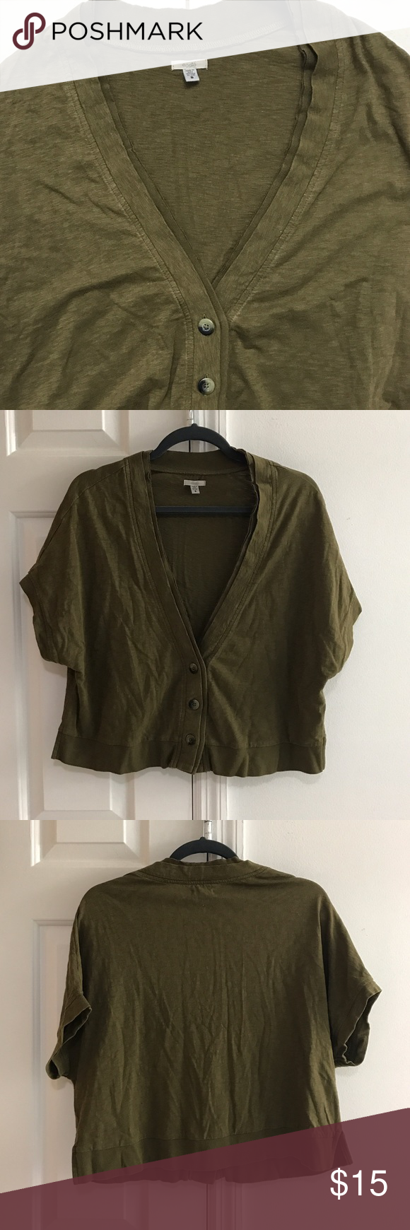 UO olive green cardigan Olive green short sleeve cardigan from ...