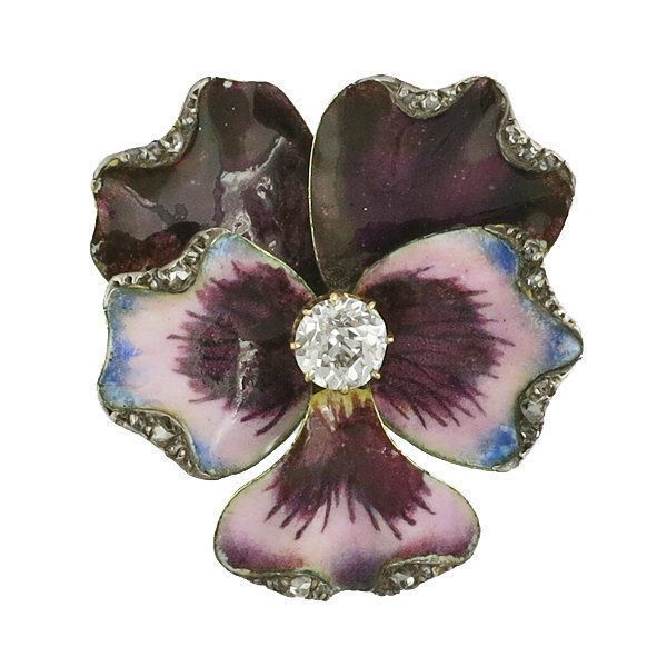 Victorian 14K Gold Enamel Diamond Pansy Brooch in Jewelry & Watches, Vintage & Antique Jewelry, Fine | eBay