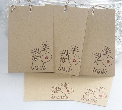 Natale regalo Tags Renna con il naso rosso su Kraft Set of Five, Festa Festa Regalo Tag, Tag Regalo per I Regali #christmasgiftideas
