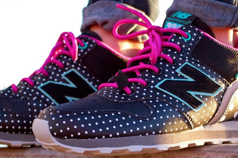 2014 New Balance WH996BFK Mid Polka Party black White Dots Magenta Women  shoes