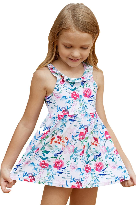 Floral Pattern Toddler Ruffle Neckline Girls Dress Swim Cute Girl Dresses Little Girl Leggings Swim Dress