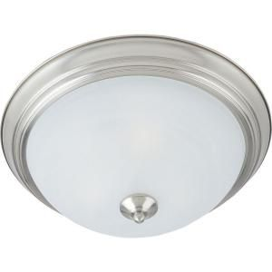 3-Light Flush Mount Satin Nickel Finish Marble Glass-CLI-MA49541148 at The Home Depot
