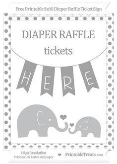 Free Pastel Grey Dotted Elephant 8x10 Diaper Raffle Ticket