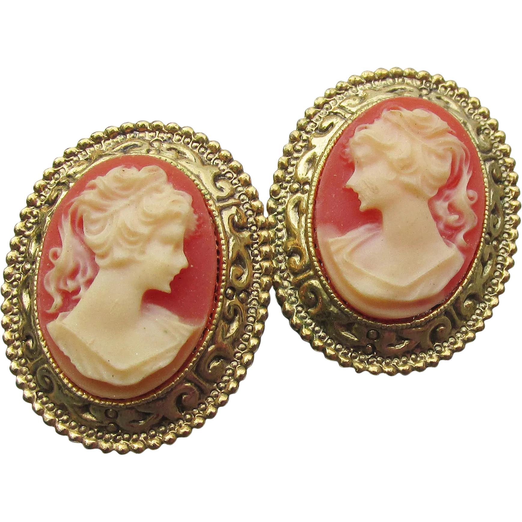 1928 Jewelry Company Cameo Earrings