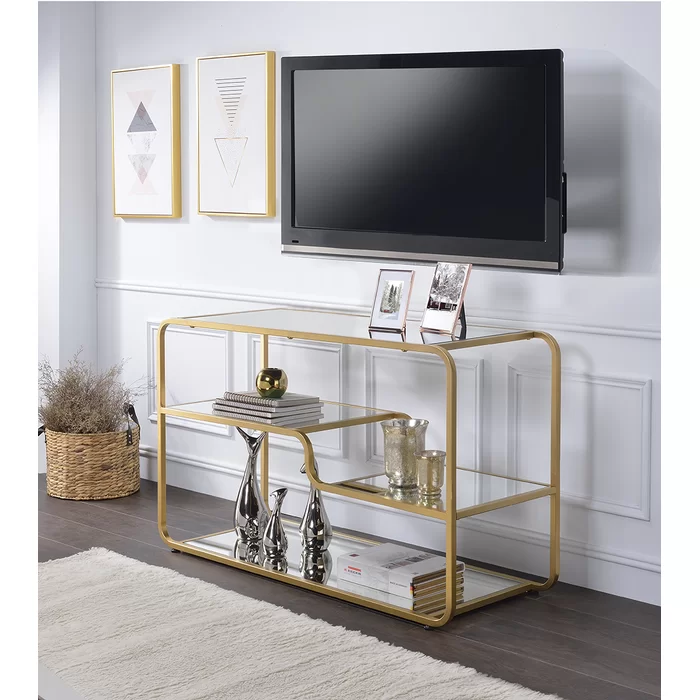 Skylar Tv Stand For Tvs Up To 55 Inches Glass Tv Stand Gold Tv