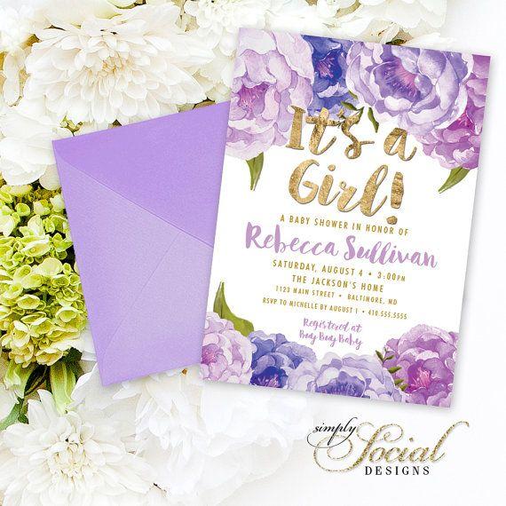 Floral Baby Shower Invitation   Floral Lilac Purple Faux Gold Foil Boho  Flowers Watercolor Botanical Itu0027s