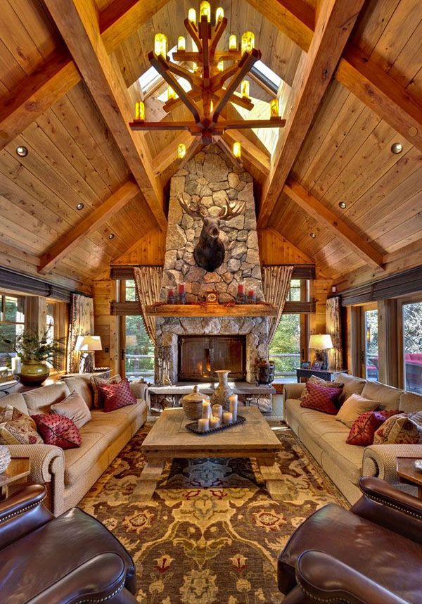 remarkable log cabin home living room | 47 Extremely cozy and rustic cabin style living rooms ...