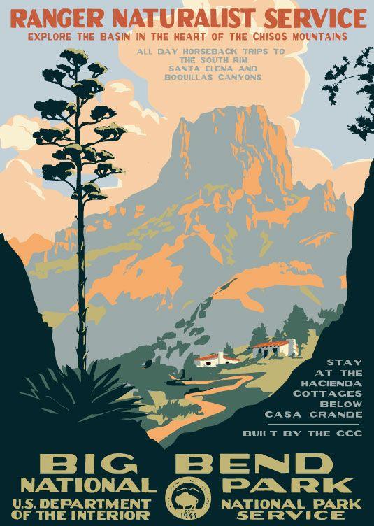 Big Bend National Park Poster Jpg 535 752 National Park Posters Wpa Posters Vintage National Park Posters