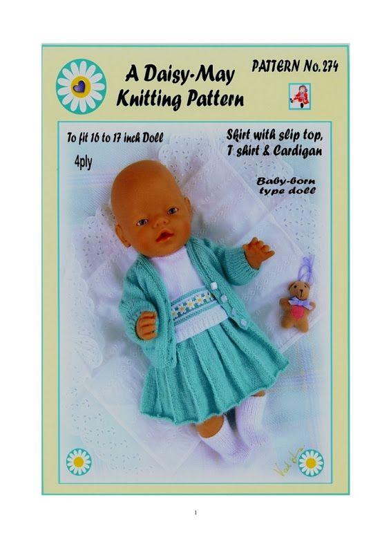 1 DOLLS KNITTING PATTERN for BABYBORN BY DAISY-MAY No 261